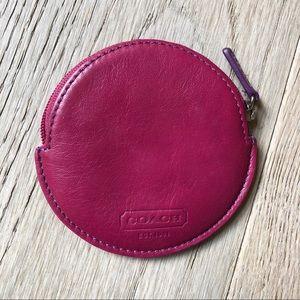 Coach circle coin purse pouch purple zip closure